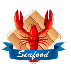 lobster on seafood icon vector image