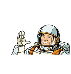 Male astronaut voting hand up vector