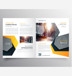 Modern abstract bifold business brochure template vector