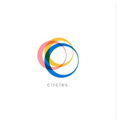 Multicolored rings logo concept auto vector