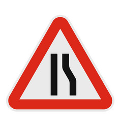 narrowing right road icon flat style vector image