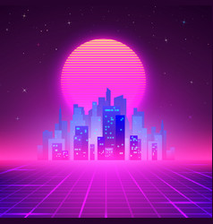 Night city skyline 80s retro sci-fi background vector