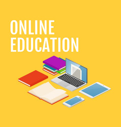 online education concept isometric laptop vector image