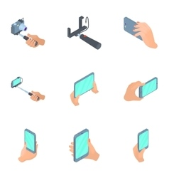 Photo mobile phone icons set cartoon style vector image
