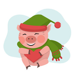 pig hold red heart in green hat vector image