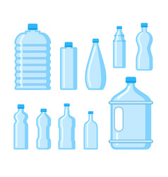 plastic water bottle icon blue liquid container vector image
