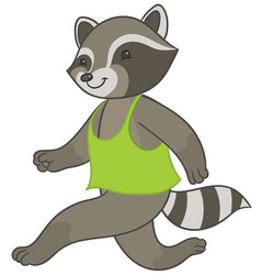 raccoon running in sports t-shirt vector image