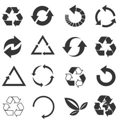 Recycled eco icon set vector