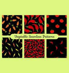 Red and black seamless vegetable background set vector