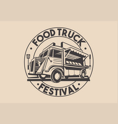 restaurant delivery service food truck logo vector image