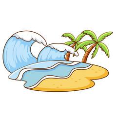 scene with big waves on island vector image