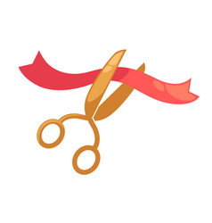 scissors cutting red ribbon symbol for opening vector image