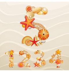 Sea life font vector
