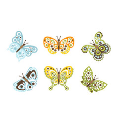 set cute butterflies insects decoration design vector image