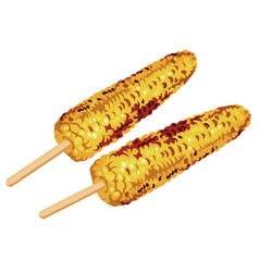 Set of two grilled corn on the cob vector