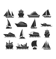 Ship and marine boat black silhouette set vector