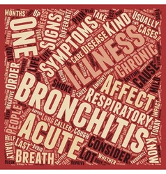Sign and symptom of bronchitis text background vector