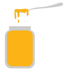 spoon full honey on white background vector image