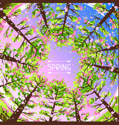 spring forest background with stylized trees vector image