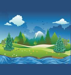 Summer river scene vector