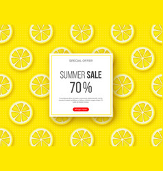 summer sale banner with sliced lemon pieces and vector image