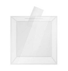transparent ballot box mockup realistic style vector image