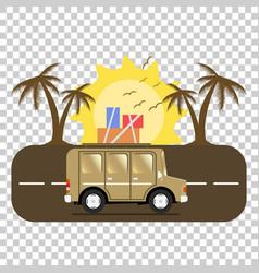 Travel car campsite place landscape palm birds vector