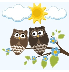 Two owls vector image