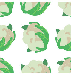 Vegetable seamless pattern with cauliflower on a vector