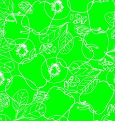 Vegetables contour seamless pattern vector image