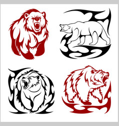 Wild bears ina tribal style isolated on white vector