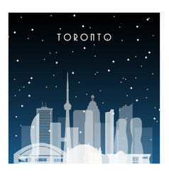 Winter night in toronto night city in flat style vector