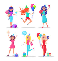 Women celebrating birthday gift and balloons vector