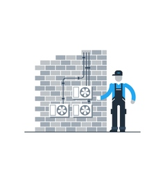 Worker with air coditioners on the brik wall vector