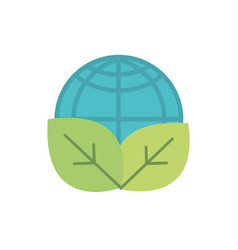 world leaves nature green energy icon vector image