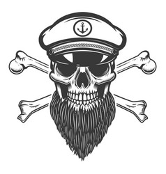 bearded sea captain skull with crossbones design vector image vector image