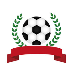 half crown of olive branch with soccer ball and vector image vector image