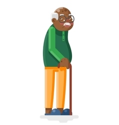 Old African Adult Grandfather Flat Design vector image vector image