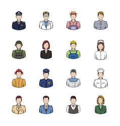 profession icons set cartoon vector image