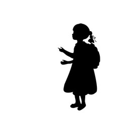 silhouette girl school bag knowledge day vector image
