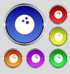 Bowling game ball icon sign Round symbol on bright vector image