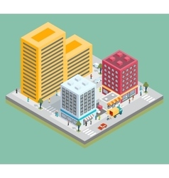 Isometric city center map with buildings shops vector image vector image