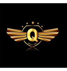 Letter Q winged crests logo Alphabet logotype vector image vector image