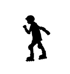 silhouette girl skating rollerblading sport vector image