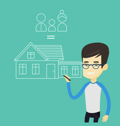 young asian man drawing family house vector image