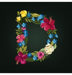 D letter Flower capital alphabet Colorful font vector image