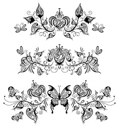 Floral patterns page dividers and decorations vector image vector image
