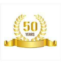 Golden 50 Years Anniversary With Laurel Wreath vector image