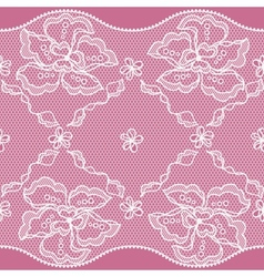 Lace fabric seamless border with abstact flowers vector image vector image