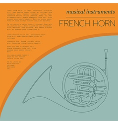 Musical instruments graphic template French horn vector image